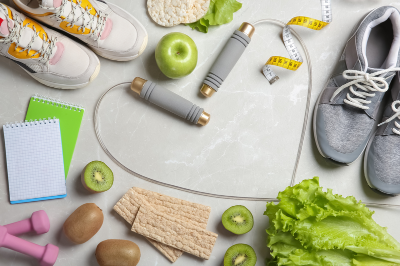 Picture of sport items and healthy food