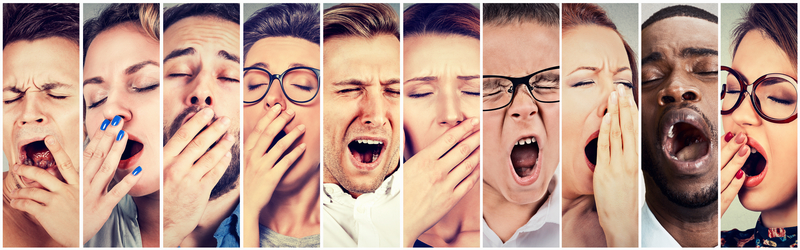 Photos of multiple people yawning from lack of sleep